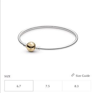 Pandora Authentic Silver Bangle - 14K gold clasp